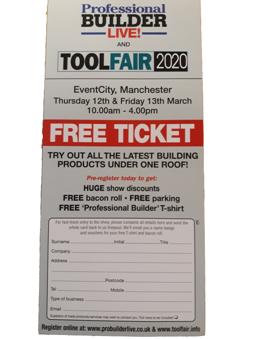 FREE TICKET to Tool Fair 13th March 2020